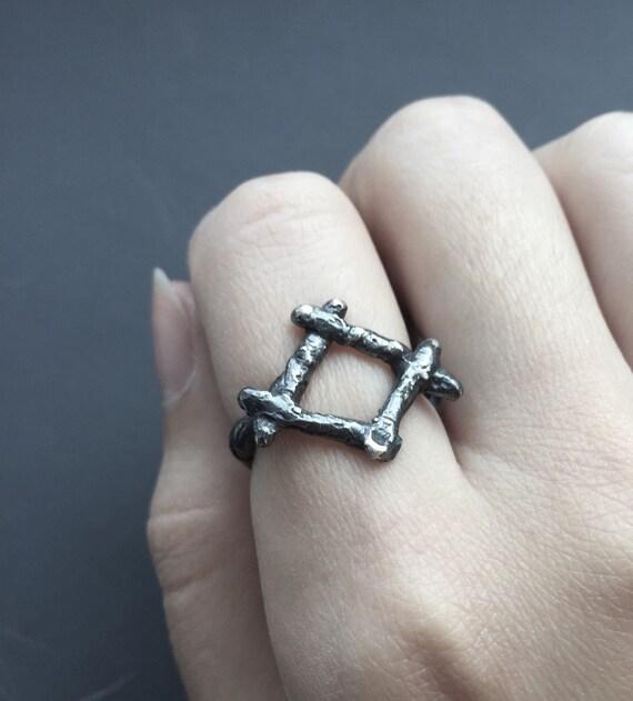 Unisex Ingwaz Harmony Organic Black Oxidized Sterling Silver Rune Ring