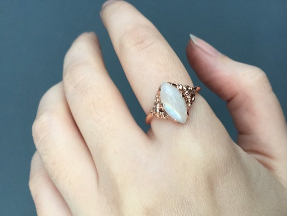 14k Rose Gold Marquise Facet Moonstone Blue or Rainbow Flash 7x14mm Gem Solitaire Ring with Full Round Band and Bubbles