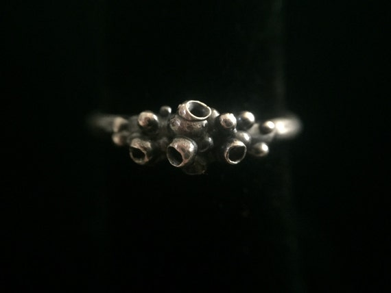 Organic Solid Oxidized Sterling Silver 925 Ring Band One of a Kind Fine Single Band Bubble Lichen Ring Size 6