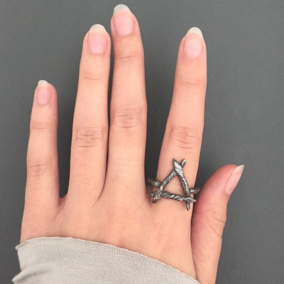 Unisex Fire/Water Alchemy Symbol Triangle Rune Ring in Dark Witchy Oxidized 925 Sterling Silver