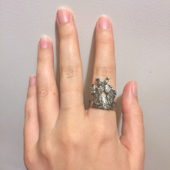 Desert Cactus Prickly Pear Pancake Cacti Textured Ring Band in Solid 925 Sterling Oxidized Silver