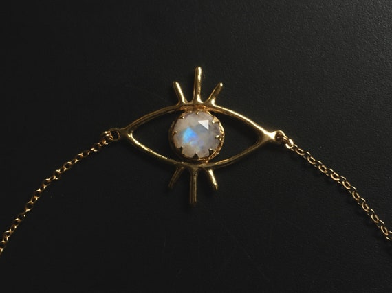 Third Eye Golden Brass Moonstone Necklace Pendant with 12mm Blue Rainbow Flash Choker Short Bib Collar