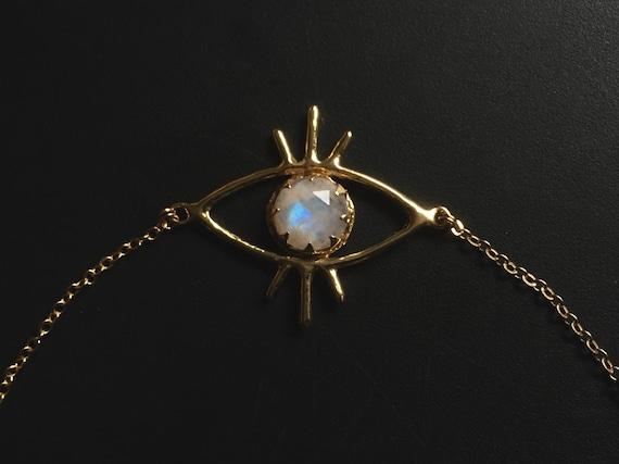 Third Eye Golden Brass Moonstone Necklace Pendant with 12mm Blue Rainbow Flash Choker Short Bib Collar