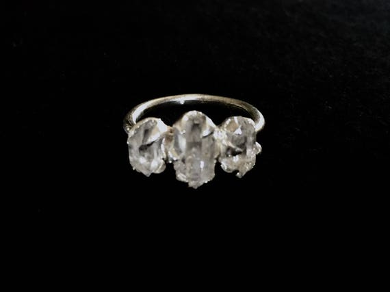 Triple Stone Engagement Ring Herkimer Diamond Quartz Ring set in High Polish Solid Sterling Silver 925 Size 4, 5, 6, 7, 8 ,9