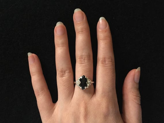 Black Onyx Marquise Diamond Ring High Polish Rose Cut Ring Stone Solid Sterling Silver 925