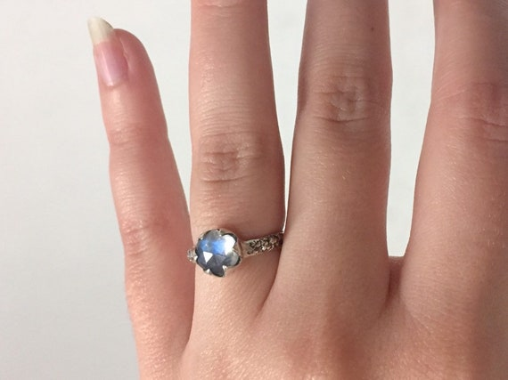 Oxidized Sterling Silver 7mm Hexagonal Moonstone Solitaire Ring with Natural Coral Texture Band