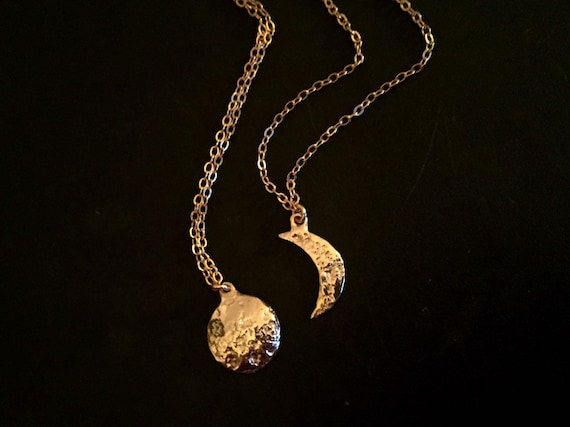 10k Gold Full and Crescent Moon and Sun Pendant Necklaces