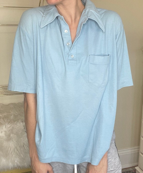 Vintage 60s/70s Blue Collared Shirt | Polo