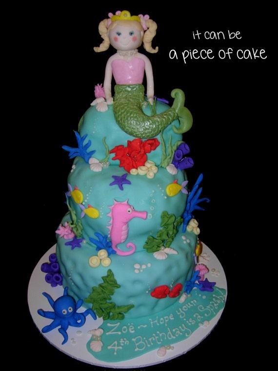 Mermaid Under The Sea Ocean Birthday Cake Toppers Fondant Etsy