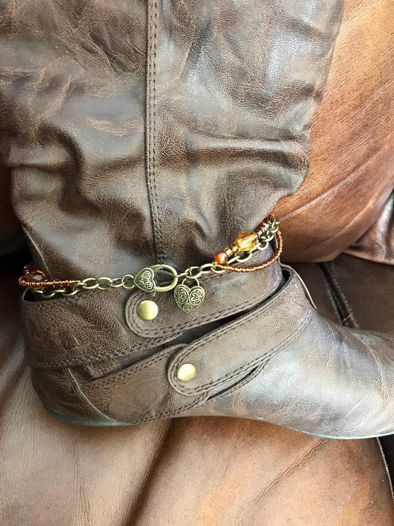 Boot chains beaded boot bracelet  boot bling