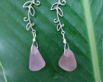 Lavender seaglass earrings on sterling silver vine