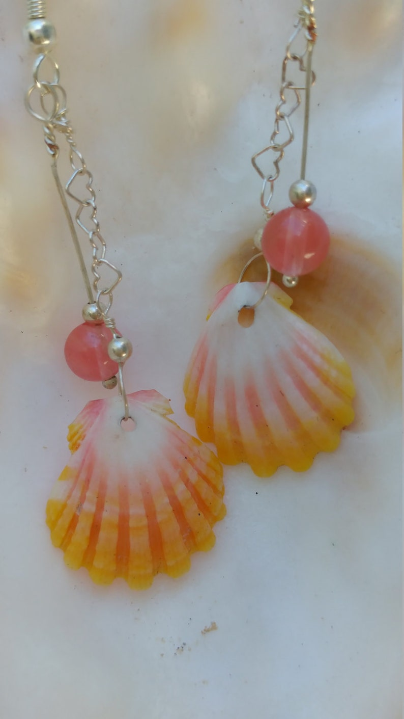 Sunrise shells and cherry quartz earrings on sterling silver heart chain
