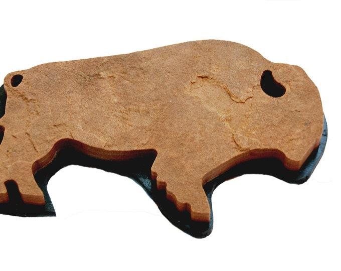 Buffalo Chip 158: A natural stone Buffalo plaque ( wall hang )