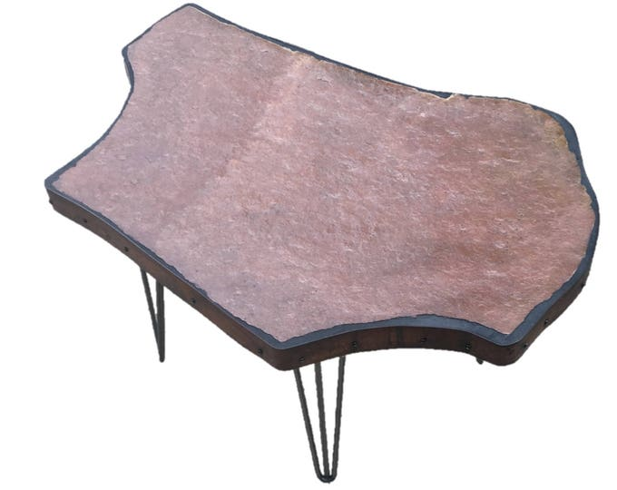 "Nebraska? A stone topped folk art table 35"" x 23"" x 19"" Tall"