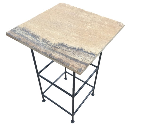 "Tall Sandstone (Dark): a 24"" x 24"" x 35"" tall natural sandstone stand or bar table"