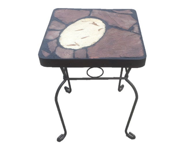 "Fossil Fish Side Table: a 18"" x 18"" x 22"" tall natural stone topped folk art table featuring a Green River WY fossil"