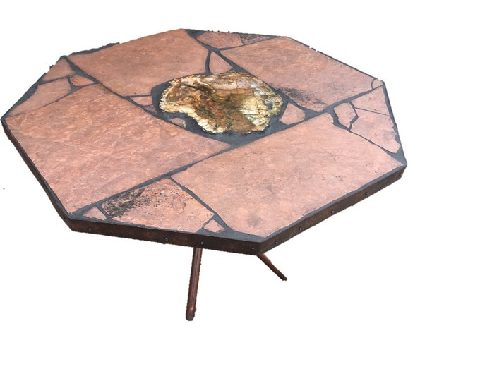 "Chuck Wagon #2: An octagonal shaped (40 x 40 x 29"" tall) stone topped folk art dinner table"