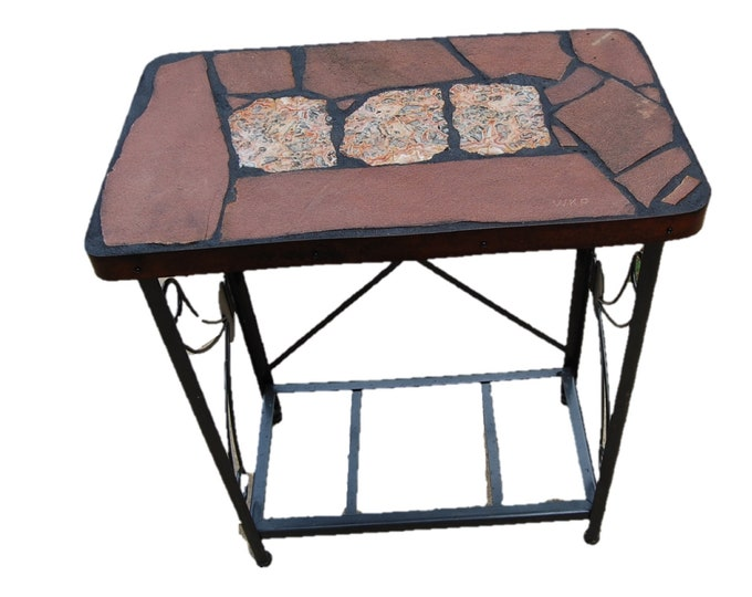 "Crazy Lace Agate: A 27"" x 16 1/2"" x 32"" tall natural stone topped sofa / side table featuring crazy lace agate from Mexico"