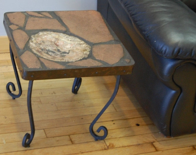 Moroccan Wood 153: A natural stone topped folk art table featuring a slab of petrified wood from Morocco on a recycled base