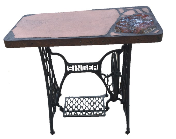 "Singer Special: a 34"" x 18"" x 30""tall natural stone topped folk art table on an antique Singer sewing machine base"