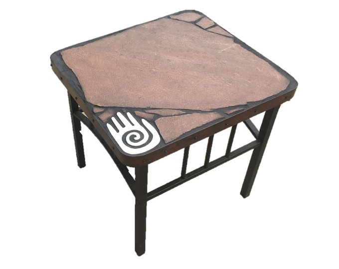 "Left Hand 149: A 20 1/2"" x 22"" x 20 1/2"" tall natural stone topped folk art table with a Hopi hand symbol focus"