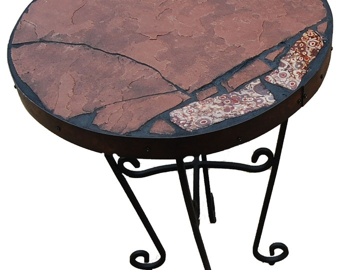 "Obicular Jasper 157: a 22"" diameter x 20 1/2"" tall natural stone topped folk art table"