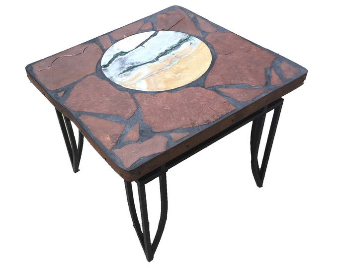 "Peacock A stone topped folk art accent table 28"" x 26.5"" x 23"" tall"
