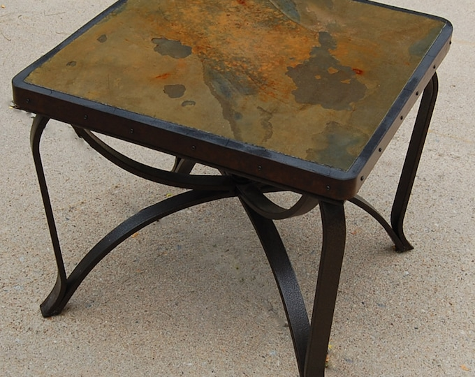 "Slate Tile 161: a 25"" square by 22"" tall natural stone topped folk art table"