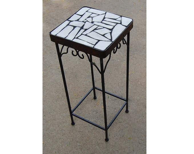 "Marble Scrabble 162: A 11 1/2 x 11 1/2 x 27"" tall natural stone topped accent table"
