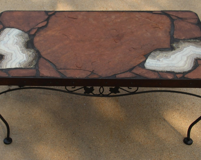 Sow Belly Agate 160: A natural stone topped coffee table with spectacular agate focus stones on a recycled base