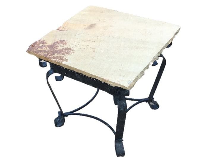 "Indian Dendrites:  A 24"" square x 22"" tall natural stone topped folk art table."
