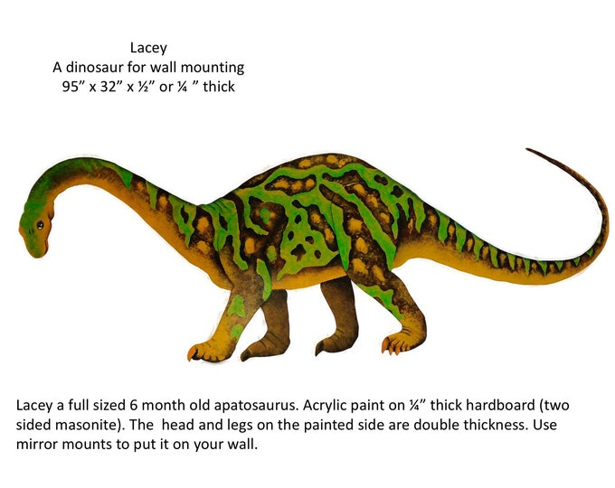 "Lacey: An apatosaurus for wall mounting  95"" x32"" x1/2"""