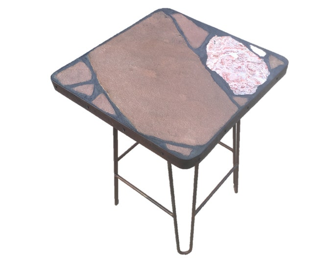 "Rosetta #2: A 21 1/2 x 21 1/2 x 29"" tall natural stone topped folk art table with a banded agate focus stone"
