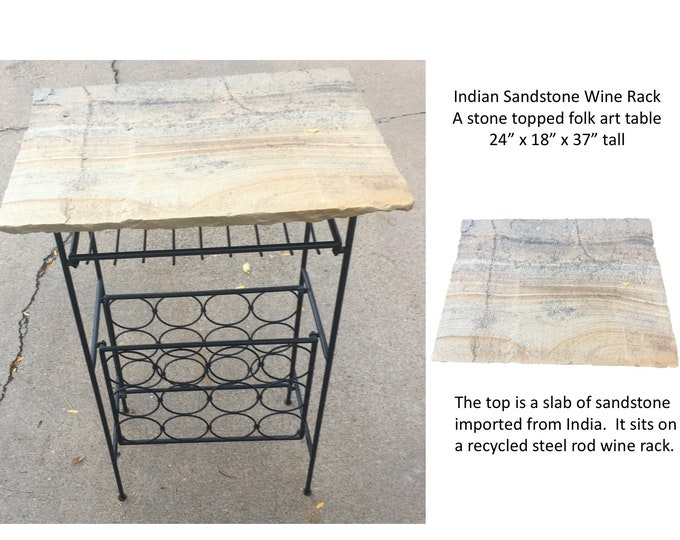 "Indian Sandstone Wine Rack: A folk art wine rack featuring an  18x24"" slab of indian sandstone sitting on a recycled steel rod wine rack."