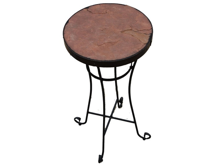 "Sandstone Bar 154: A 43"" tall 20 1/2"" diameter stone topped folk art bar table"