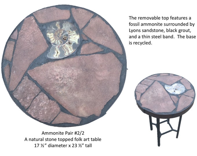 "Ammonite Pair #2/2:  A 17 1/2"" diameter x 23 1/2"" tall natural stone topped folk art accent table"