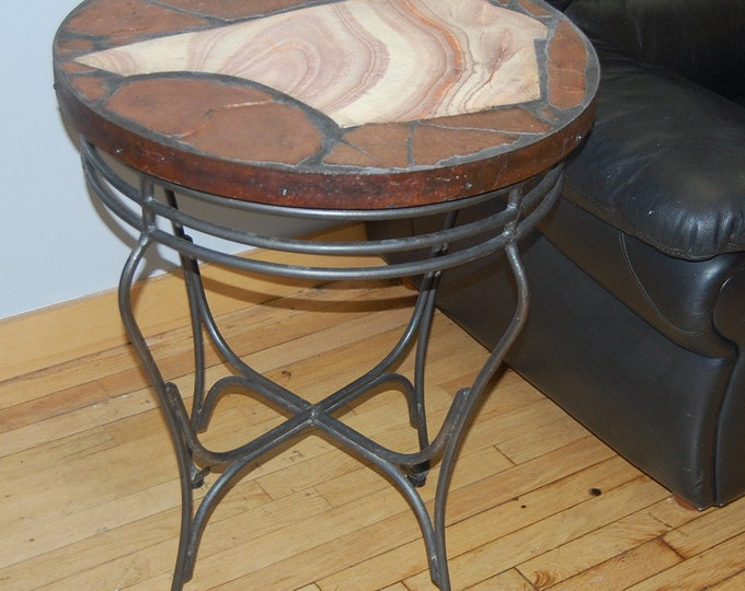 Rhyolyte: A natural stone topped folk art table with a Utah rhyolyte slab focus on a recycled base
