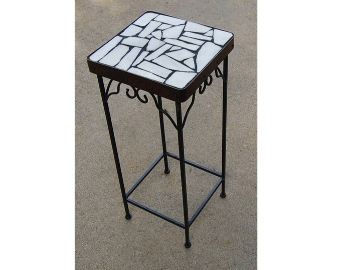 """Marble Scrabble 162: A 11 1/2 x 11 1/2 x 27"""" tall natural stone topped accent table"""