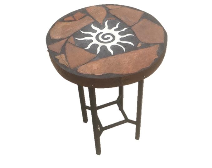 "Starburst Shaft: An 18"" diameter x 24"" tall stone topped folk art accent table"