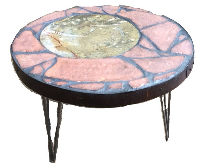 "Moroccan Moon: A 24"" diameter x 18"" tall stone topped folk art table"