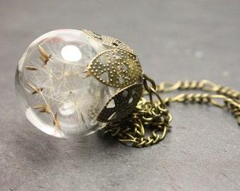 Blowball dandelion necklace