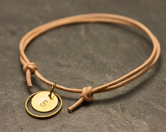 Personalized Gift Leather Bracelet Nude Circle Engraving