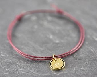 Lotus Flower Circle Bordeaux red Bracelet Vegan Gift