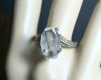 Herkimer Diamond Sterling Silver Ring / Rough Herkimer Diamond in Vintage Sterling Silver Size 9 Setting / Herkimer Diamond Statement Ring