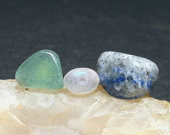 Green Aventurine, Moonstone & Lapis Lazuli Post Earrings / Pierced Stud Earrings Set of 3 / Natural Stone Pierced Studs Earrings Set of 3