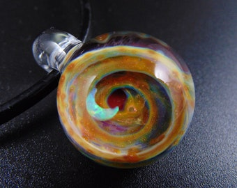 Glass Implosion Pendant Glass Implosion Pendant with an opal Crescent Moon Mystic and Black Jewelry Silver and Gold Fumed Glass Pendant