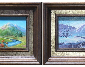 Change of Season - Mountain Scene in Fall and then Winter - Pair of Seasonal  Paintings by Steinbach