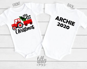 Baby Girl Clothes, Owl Red and Green Striped Christmas Romper and matching hat Baby Christmas Outfit Baby/'s First Christmas bodysuit