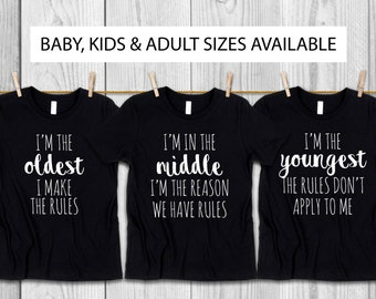 Oldest Middle Youngest Set For Brothers And Sisters, Family Rules T-Shirt Set, Matching Sibling T-Shirts, Pregnancy Announcement Bodysuit