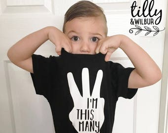 I'm This Many Three Finger Birthday T-Shirt